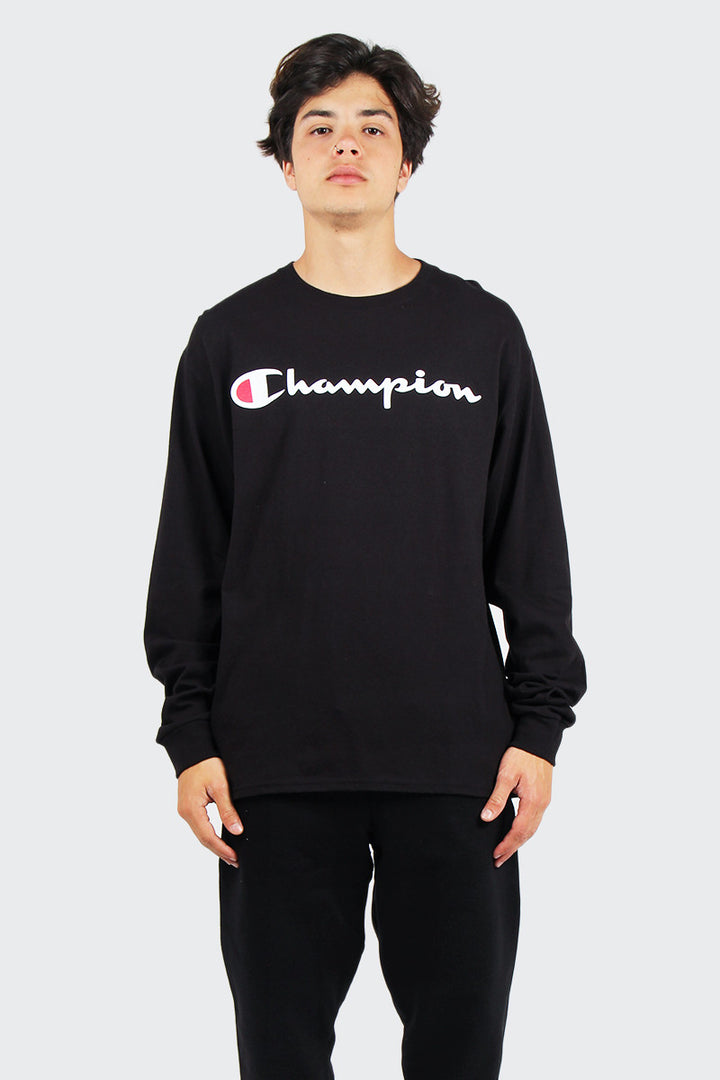 Champion Script Logo Long Sleeve T-Shirt - black | GOOD AS GOLD | NZ