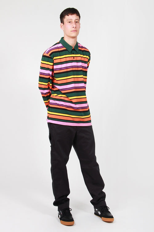 Stripy Polo Sweater - multi