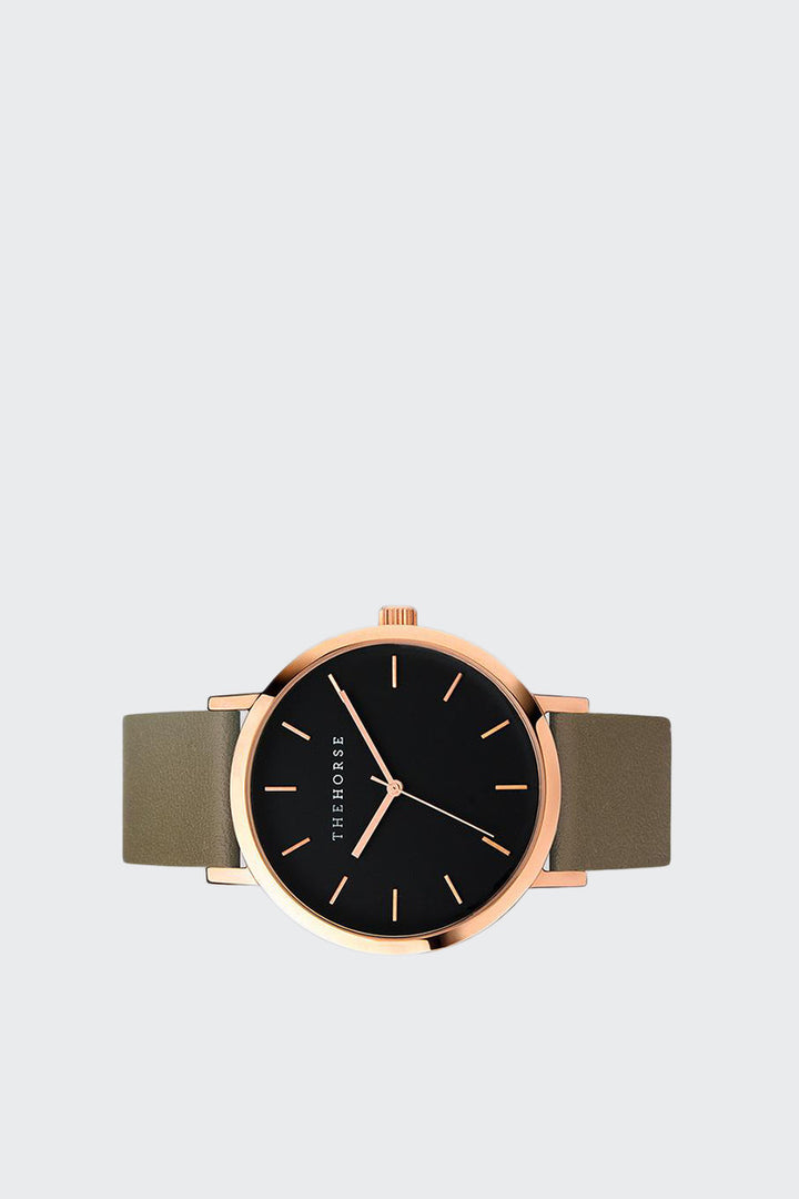 The Horse Original Watch - polished rose/black face/olive band | GOOD AS GOLD | NZ