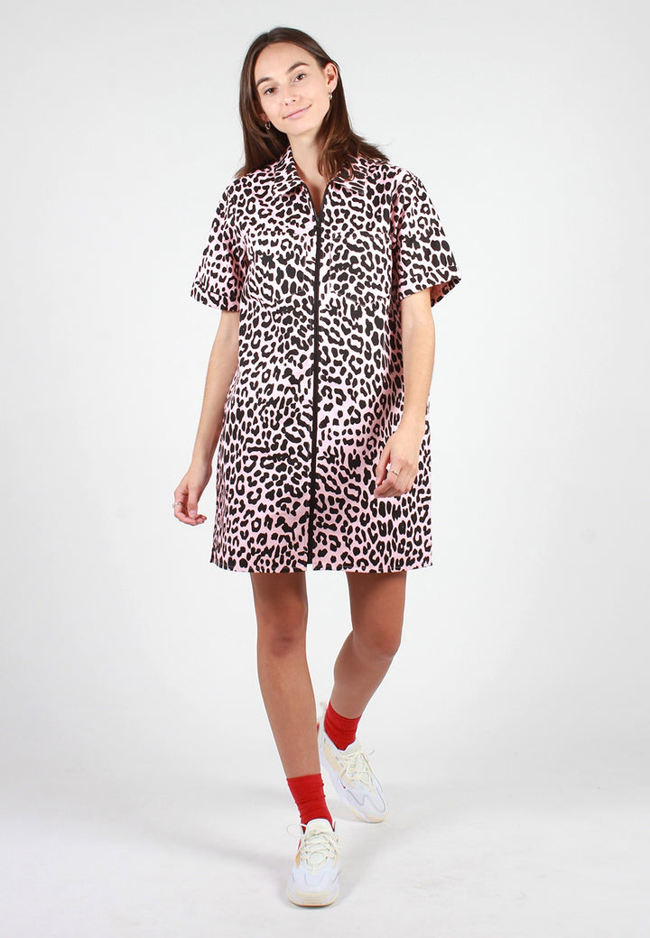 Leopard Shirt Dress - pink