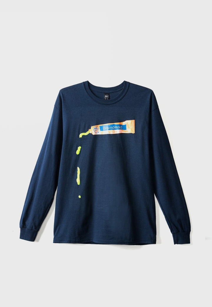 Brain Dead Ooze Long Sleeve T-Shirt - Navy - Good As Gold