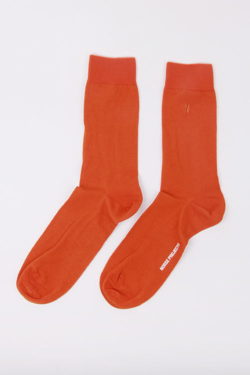 Bjarki Combed Cotton Socks - oxide orange