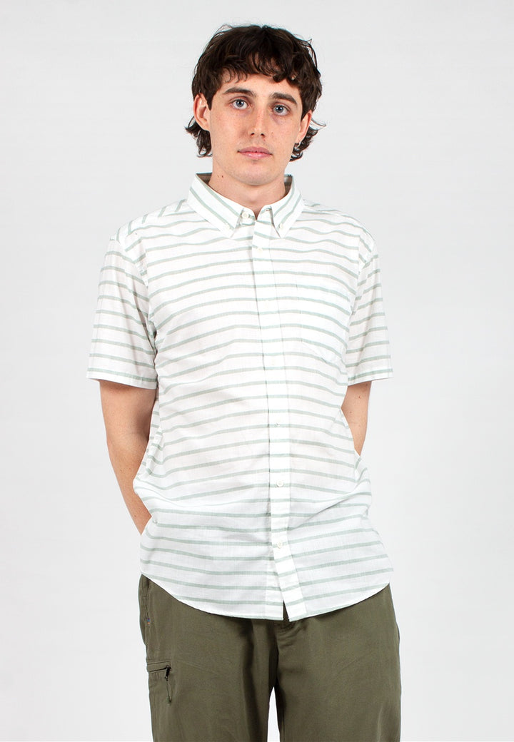 Bluffside Short Sleeve Shirt - celadon stripe