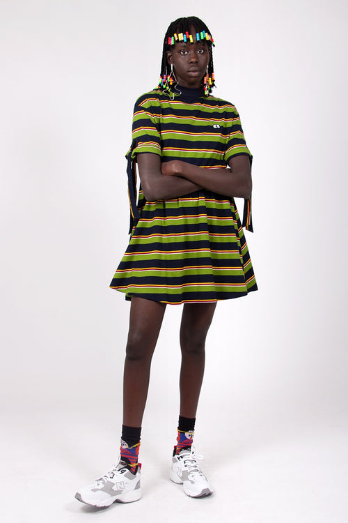 Bow Sleeve Stripy Dress - green