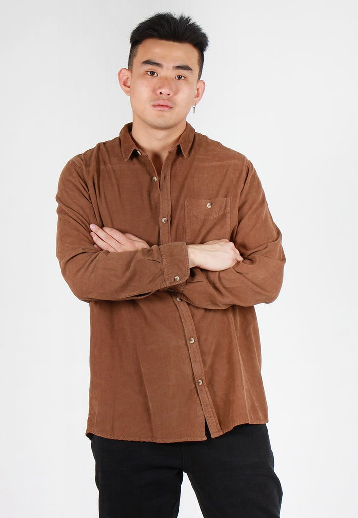 Men At Work Cord Shirt - golden brown