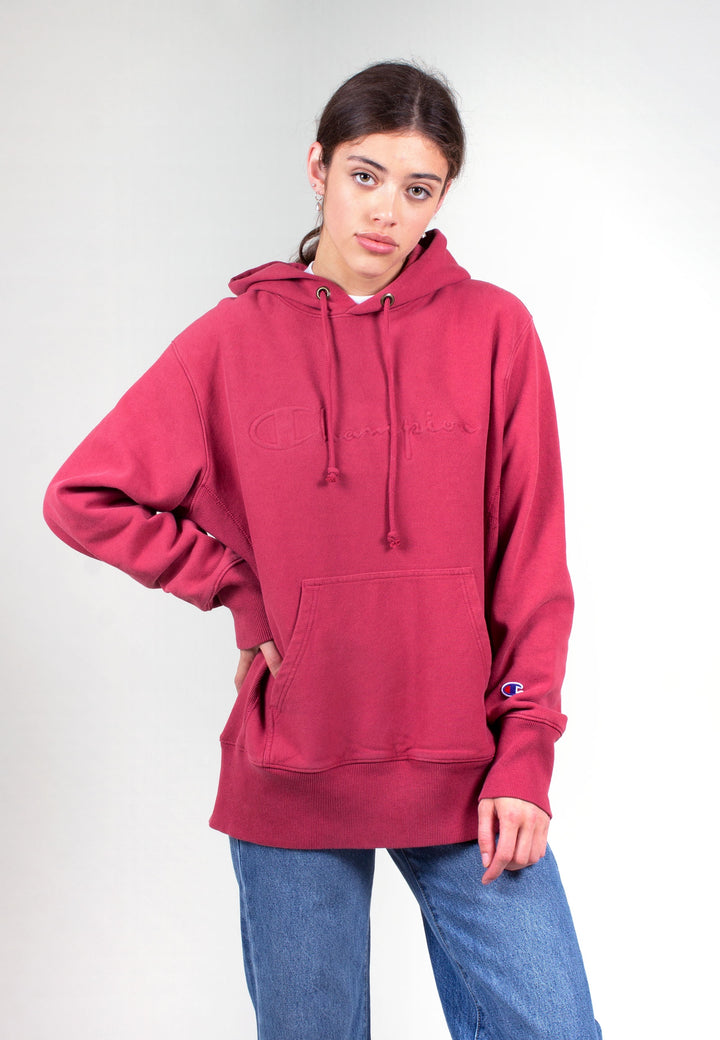 European Champion Reverse Weave Faded Logo Hoodie - deep red