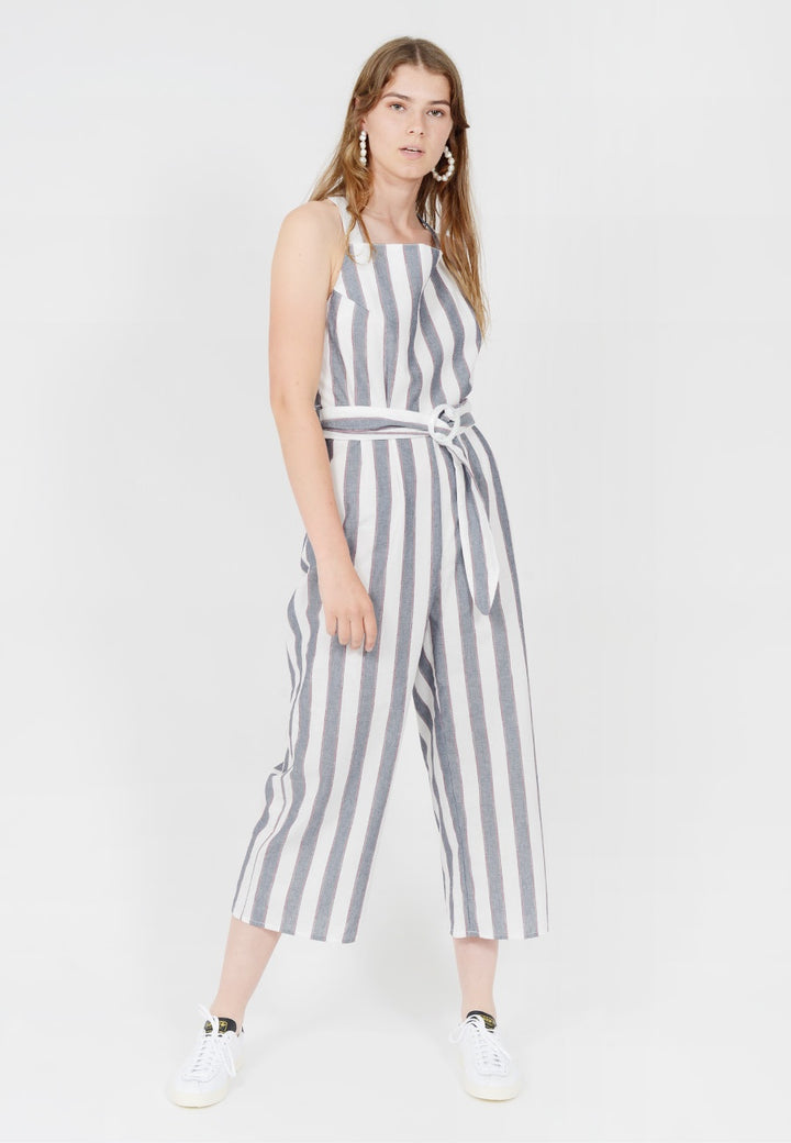 The Fifth Sequence Stripe Jumpsuit - navy/ivory — Good as Gold