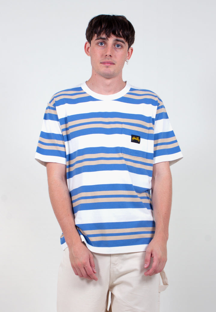 Yarn Dye Stripe Thick T-Shirt - clean blue