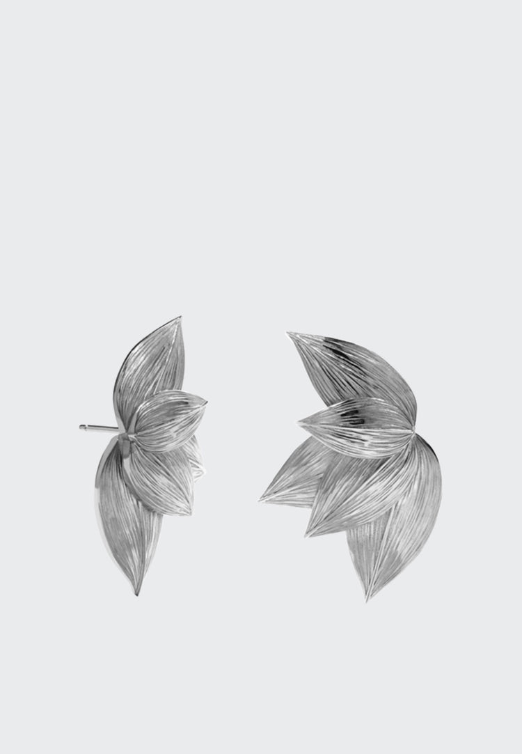 Etched 5 Leaves Stud Earring - silver
