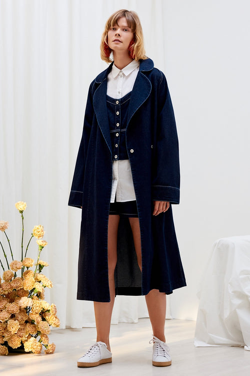 Kowtow Heritage Trench Coat - dark denim | GOOD AS GOLD | NZ