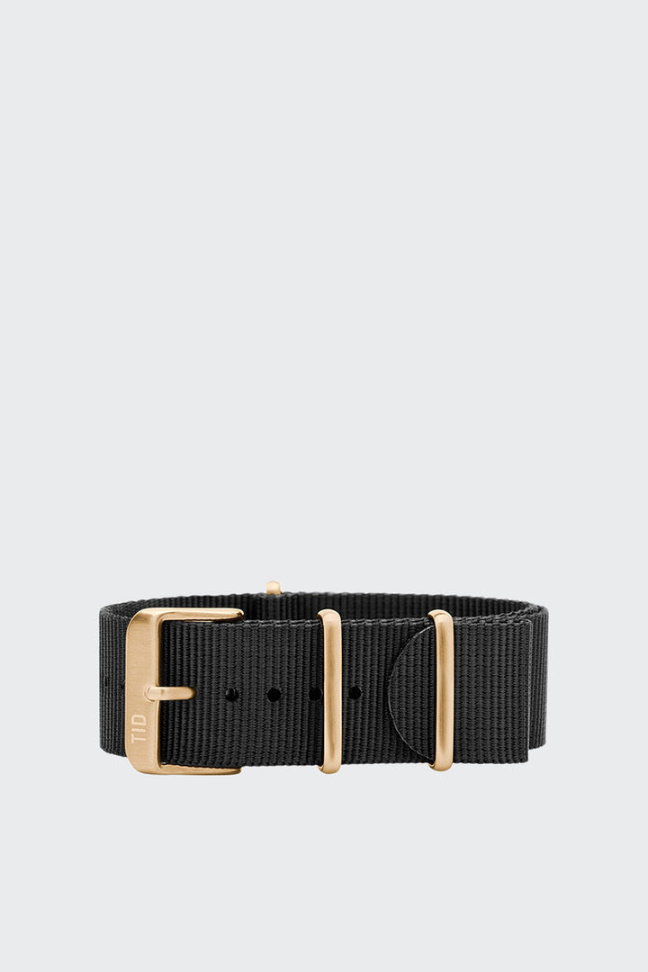TID Watches Wristband - black nylon/gold buckle | GOOD AS GOLD | NZ