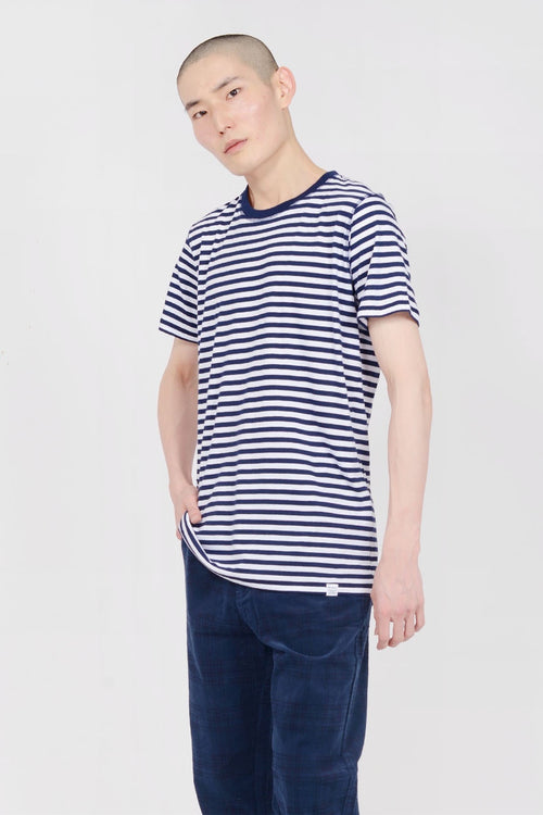 Norse Projects Niels Classic Stripe T-Shirt - dark navy/white — Good as Gold