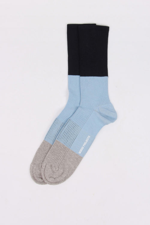 Norse Projects Bjarki Colour Block Socks - luminous blue | GOOD AS GOLD | NZ