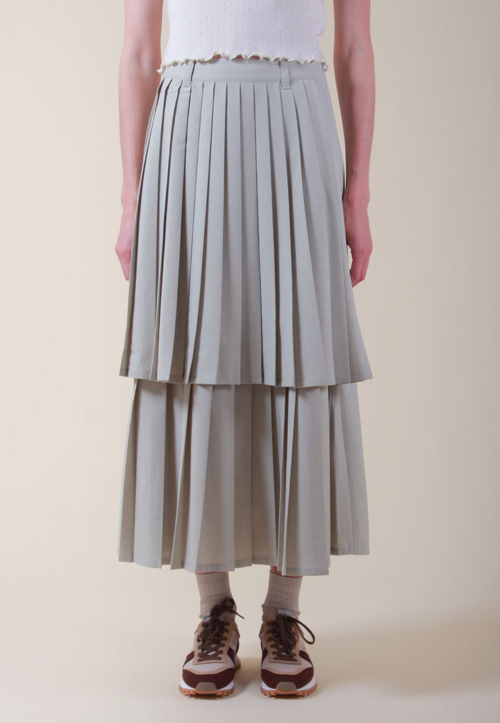 Sofia Pleats Layer Skirt - fog green