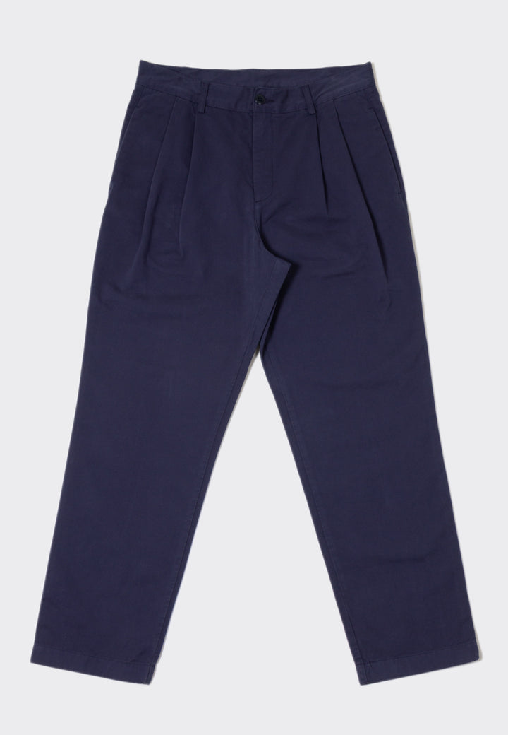 Twill Double Pleat Chino - navy twill
