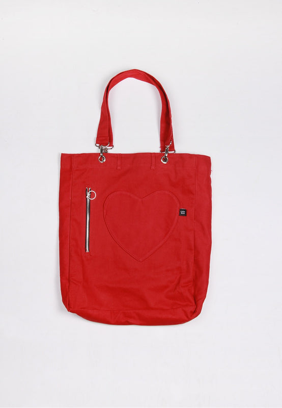 Womens Lazy Oaf Denim Pocket Tote Bag Red – Good as Gold