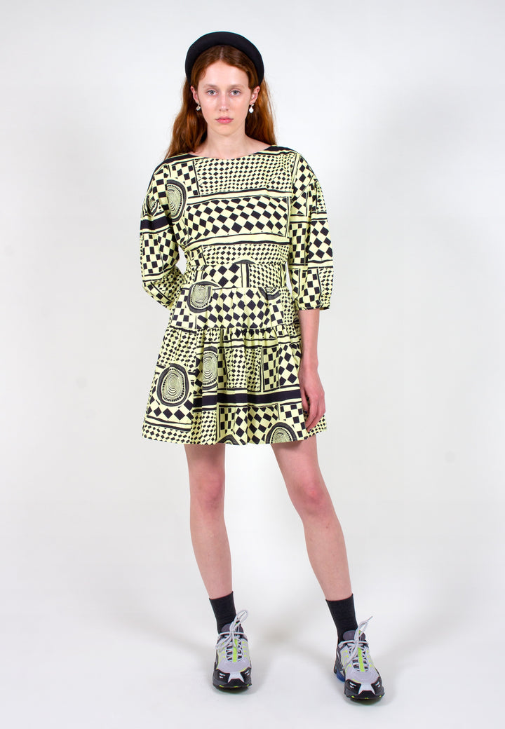 Verner | New Frill Dress Tracing History Print - black/yellow | Good As Gold, NZ