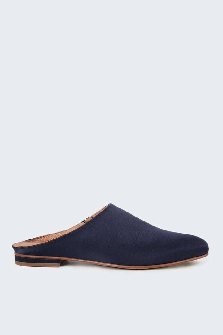 Intentionally Blank Library Mule - navy satin | GOOD AS GOLD | NZ