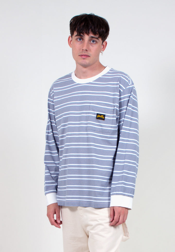 Yarn Dye Stripe Narrow LS T-Shirt - clean blue