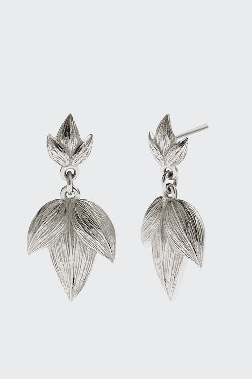Meadowlark Large Etched 3 Leaves Drop Earrings - silver