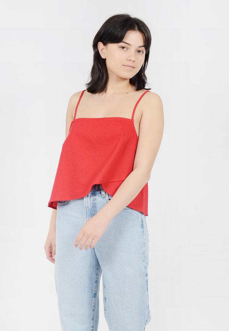 Rollas April Linen Top - red - Good As Gold