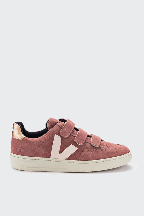 Veja V12 Velcro Suede - dried petal/venus — Good as Gold