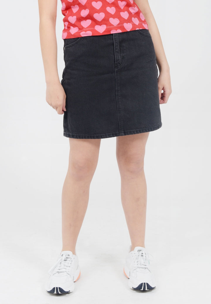 Rollas High Mini Denim Skirt - chrissy black - Good As Gold