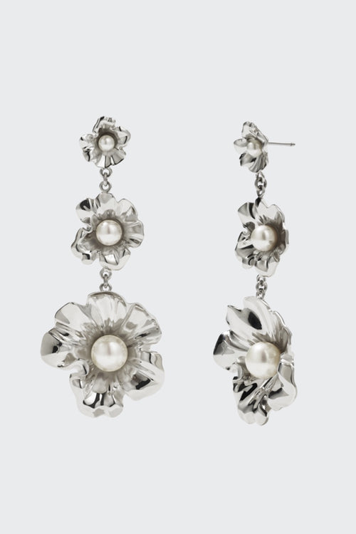 Meadowlark Coral Pearl Drop Earrings - silver
