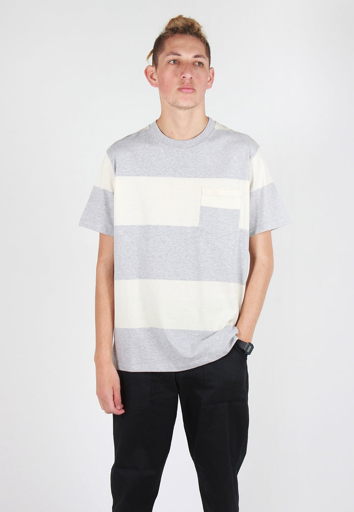 Norse Projects Johannes Block Stripe T-Shirt - light grey melange - Good As Gold