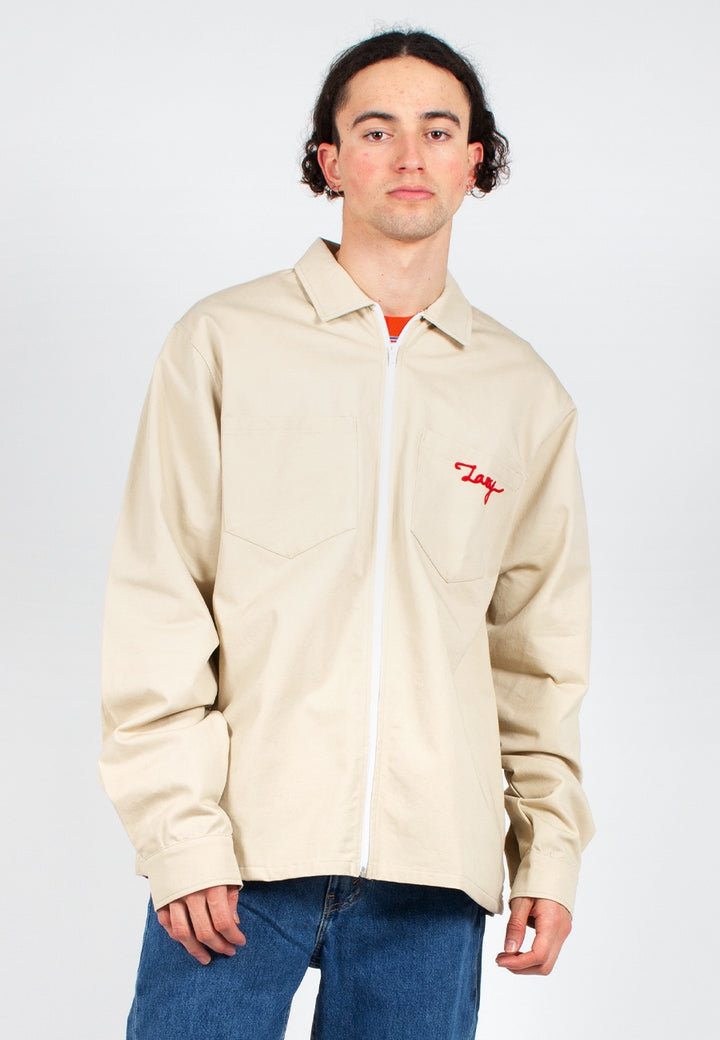 Lazy Oaf | Lazy Holidays Zip Up Shirt Jacket - natural | Good As Gold, NZ