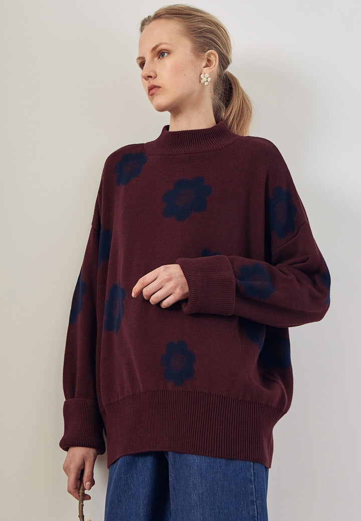 Kowtow Daisy Knit Sweater - wine - Good As Gold