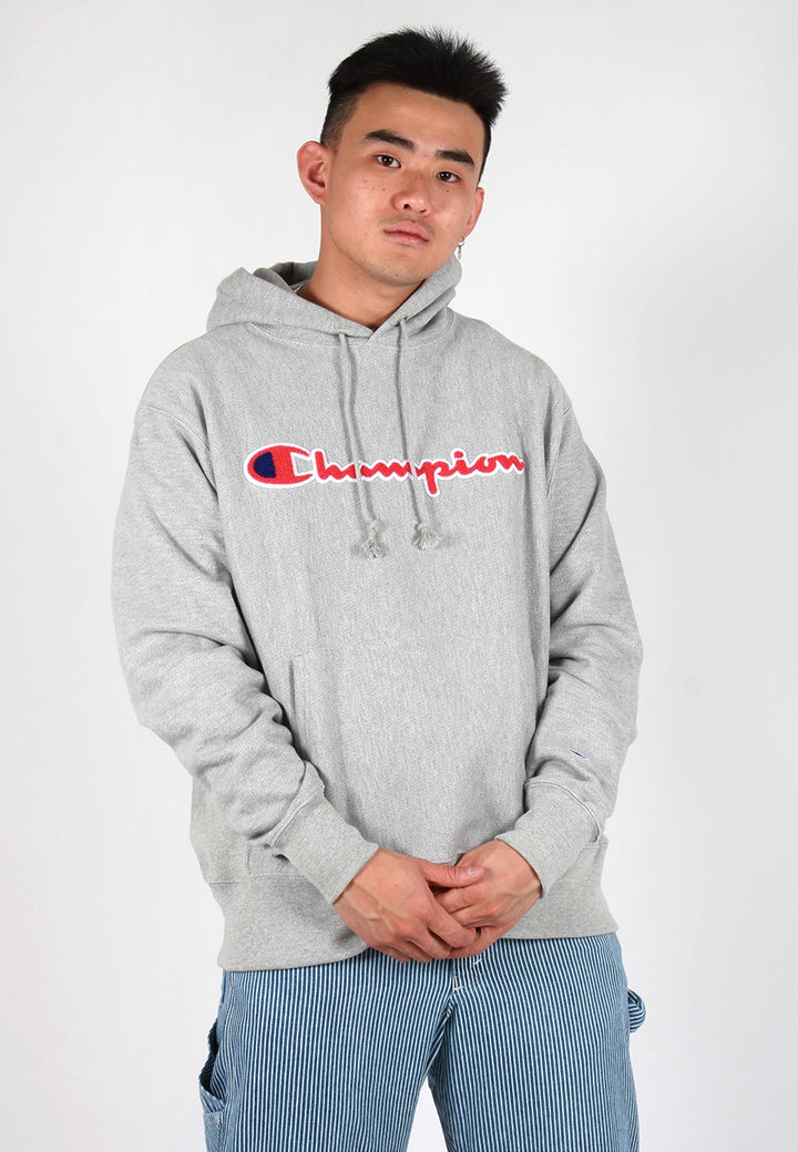 Reverse Weave Chenille Script Hoodie - ox grey/red/blue