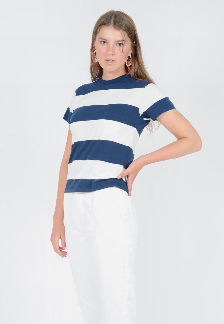 Rollas Big Stripe T-Shirt - vanilla/navy — Good as Gold