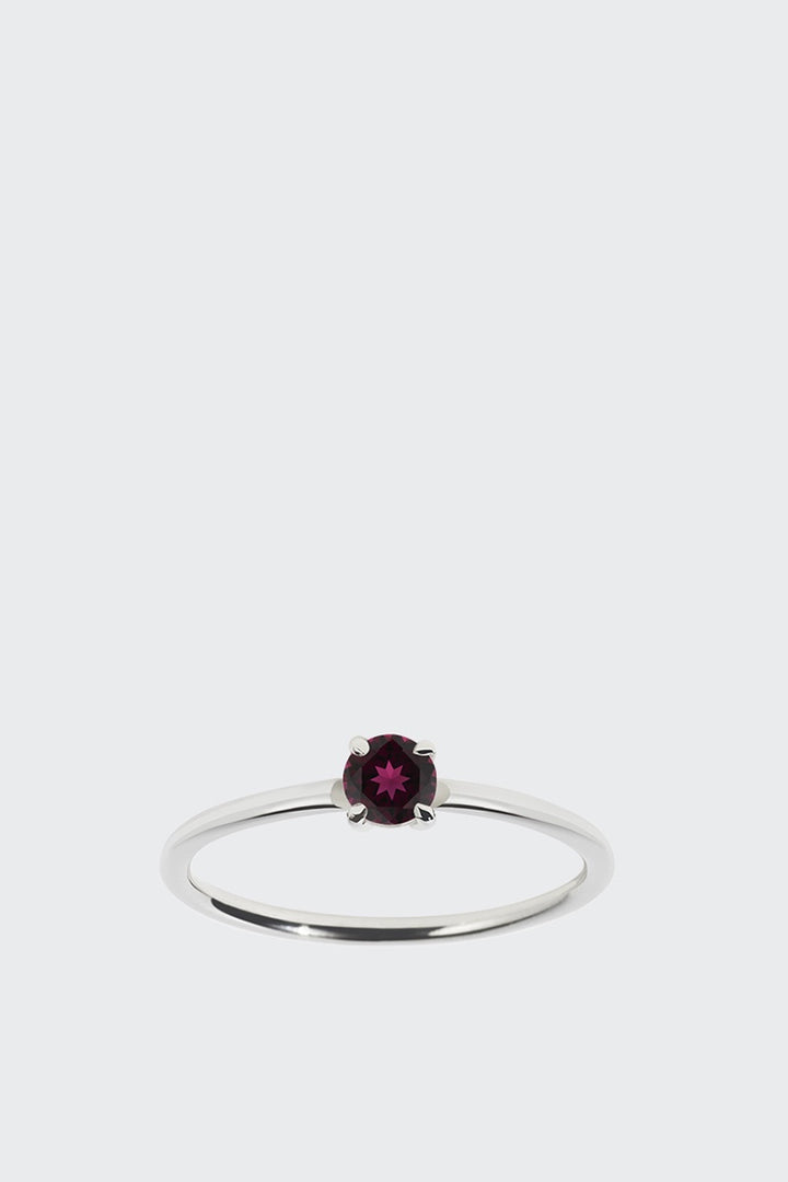 Meadowlark Micro Round Ring - silver/rhodolite garnet | GOOD AS GOLD | NZ