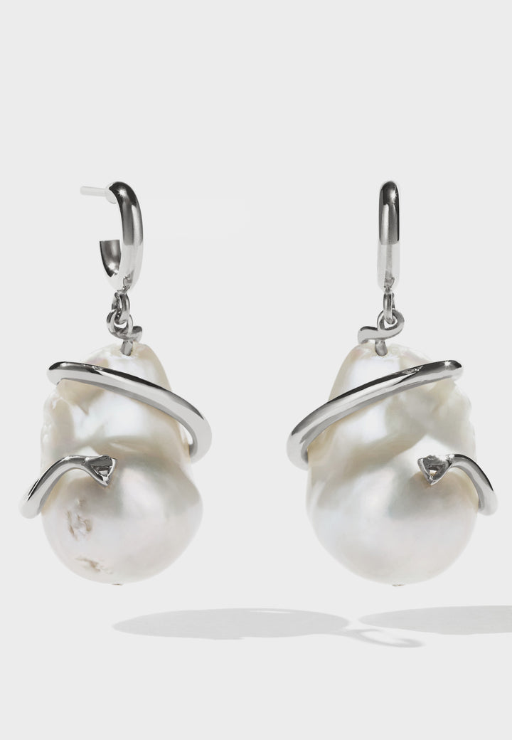 Meadowlark Medusa Coiled Pearl Earrings - silver - Good As Gold