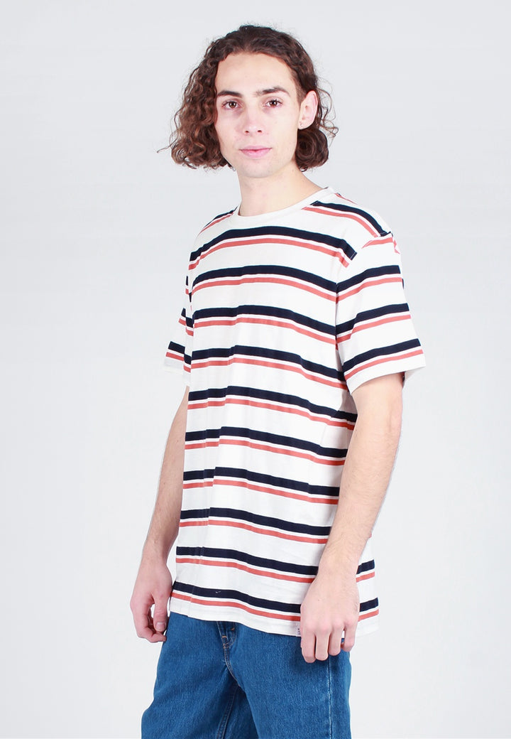 Norse Projects Niels Pique Stripe T-Shirt - pumpkin orange/dark navy - Good As Gold