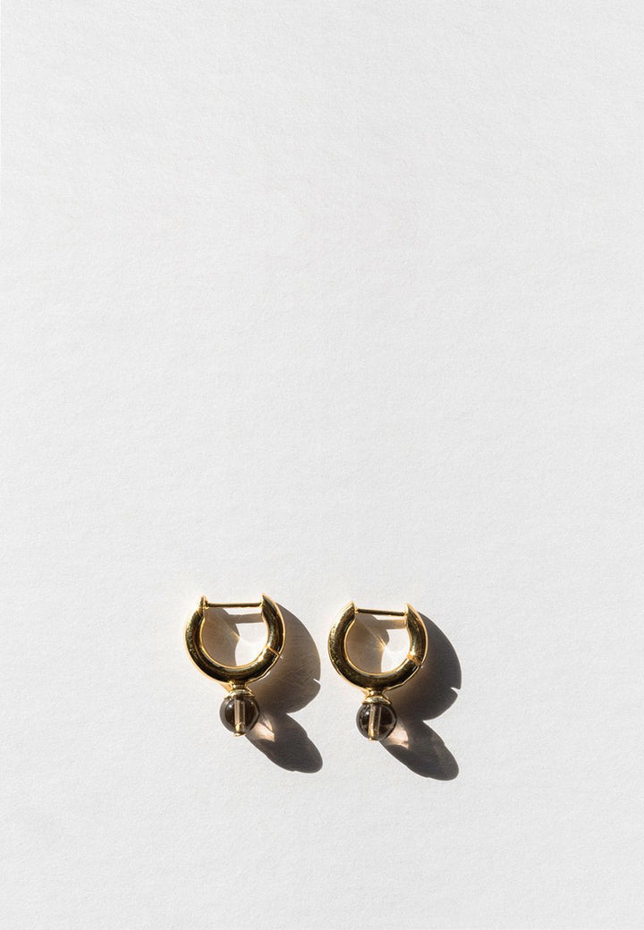 Jasmin Sparrow Audrey Hoop Earrings - gold/smokey quartz - Good As Gold