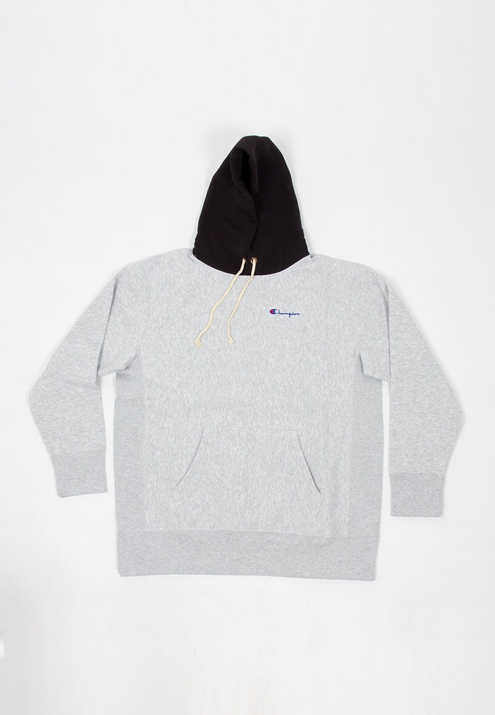 EU Reverse Weave Colour Block Hoodie - grey/black