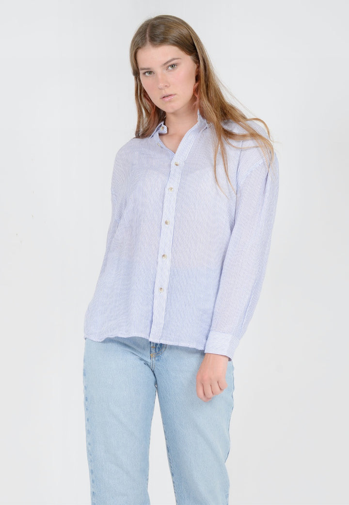 Rollas Slouch Stripe Shirt - white/blue — Good as Gold