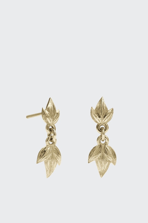 Meadowlark Small Etched 3 Leaves Drop Earrings - gold