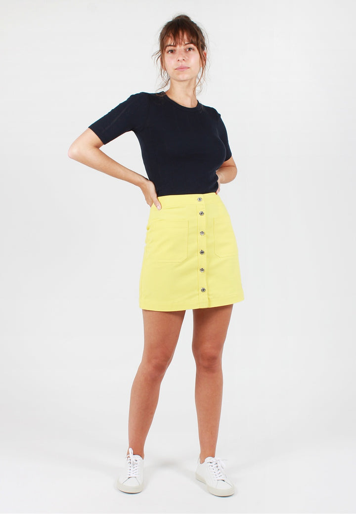 Calvin Klein Button Up Mini Skirt - yellow cream - Good As Gold
