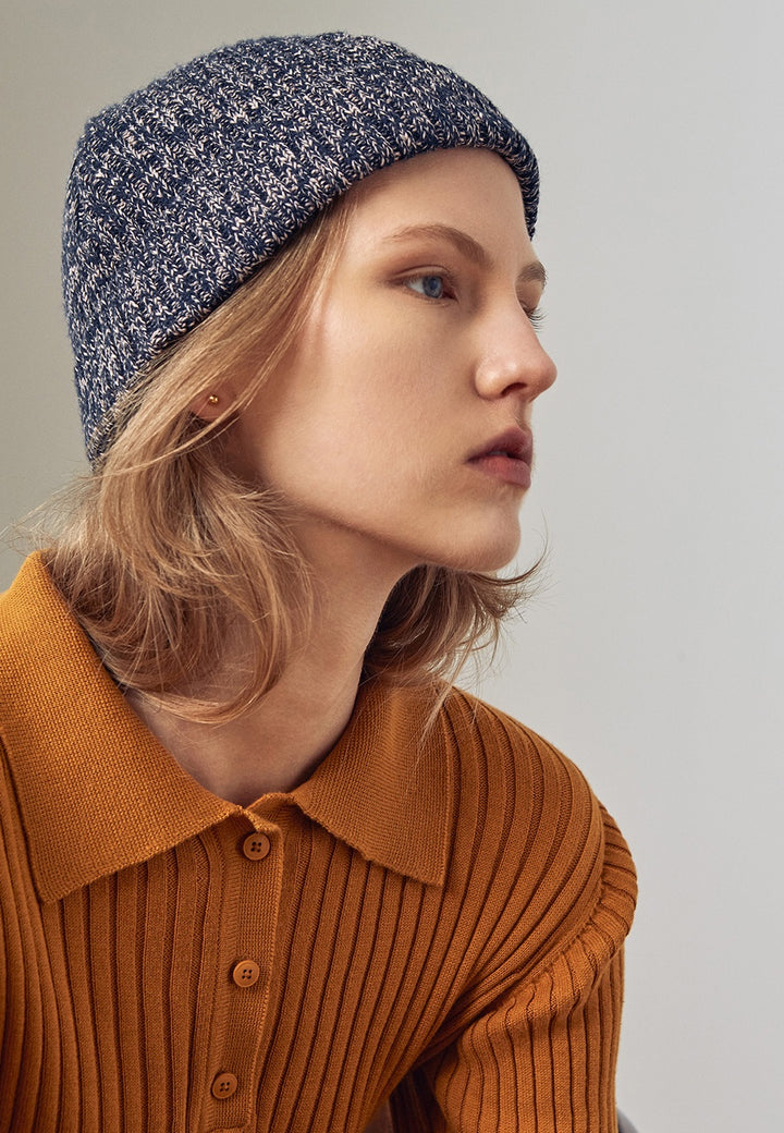 Kowtow Horizon Beanie - navy melange - Good As Gold