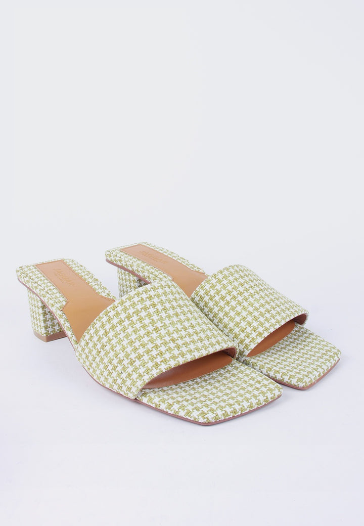 Meadow Slide - sage houndstooth