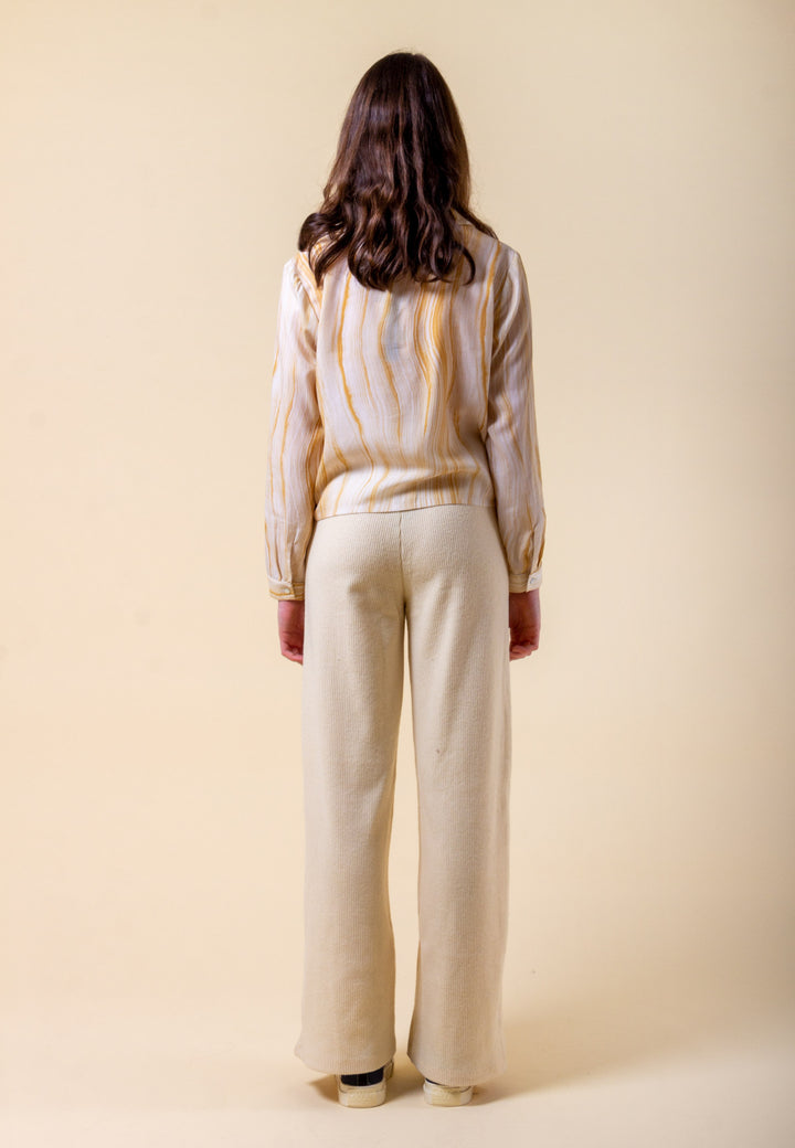 Ankle Rib Trouser - cream
