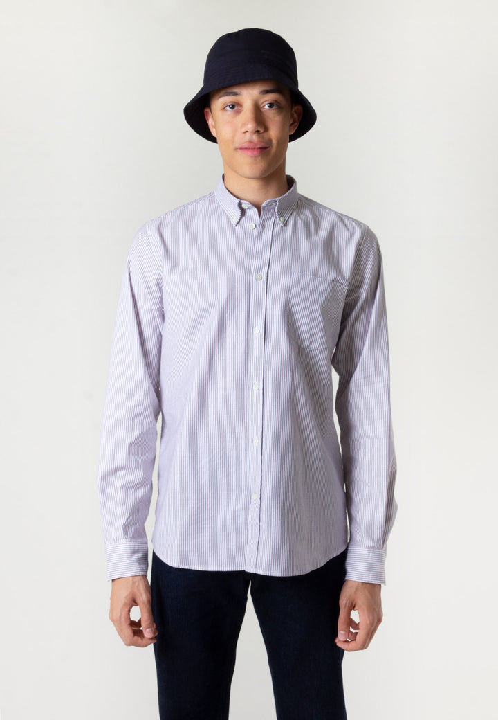 Anton Oxford Shirt - eggplant/dark navy stripe