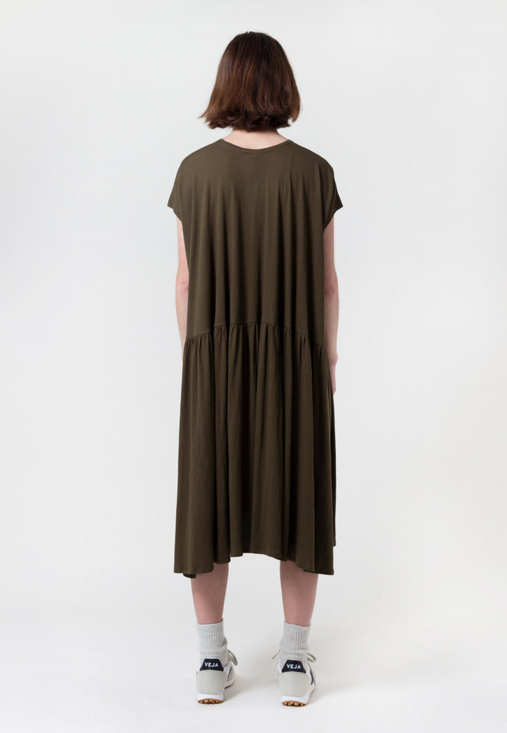 Building Block Gather Dress - dark green