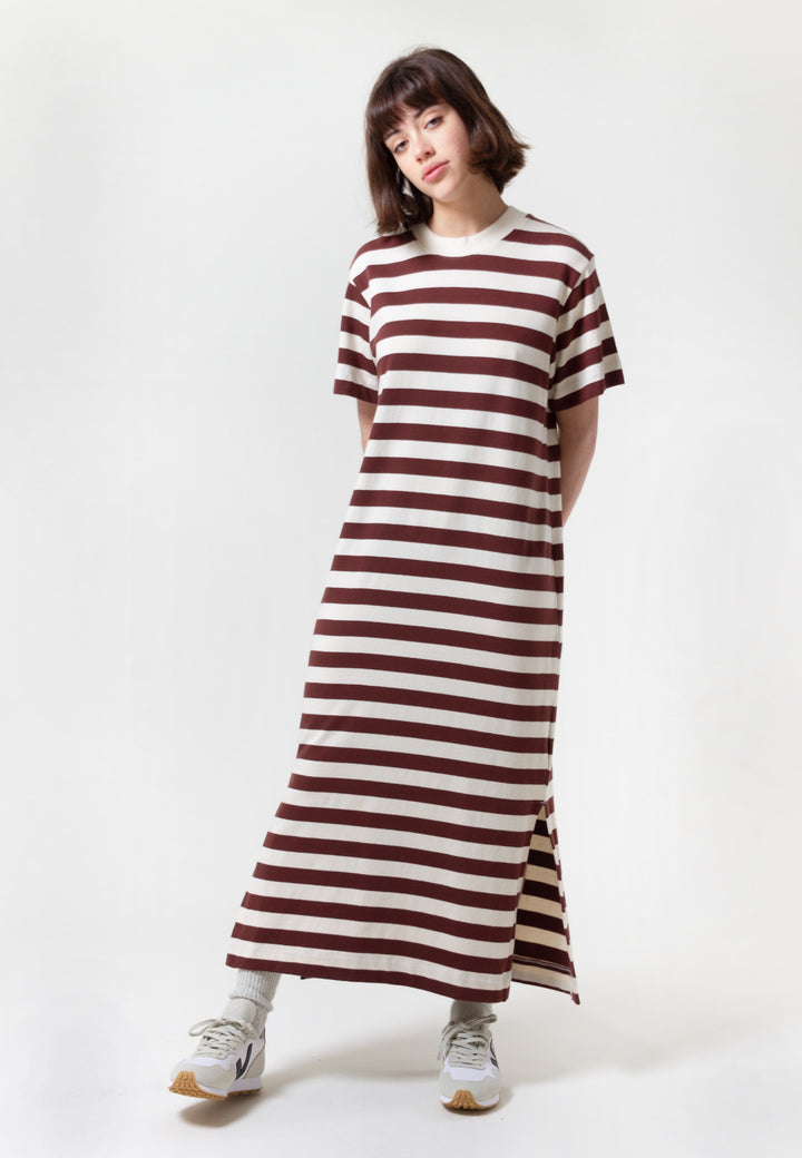 Building Block Long T-Shirt Dress - mahogany stripe