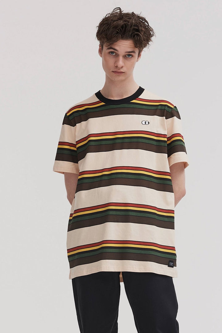 Burger Stripe T-Shirt - tan