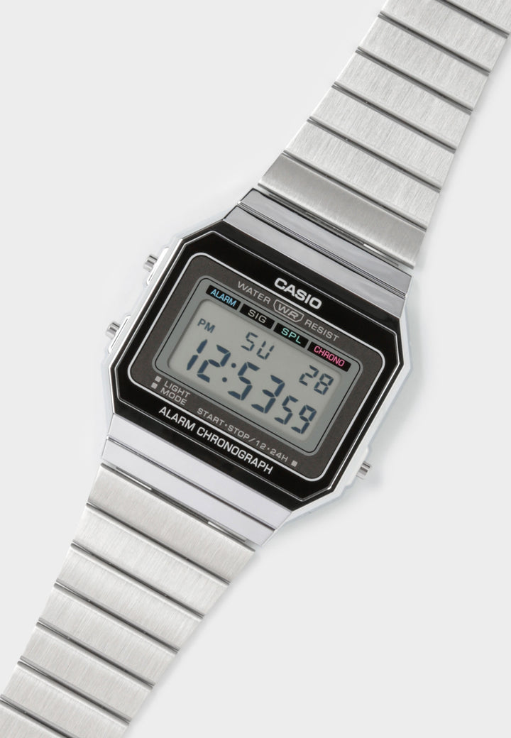 Digital Gents Vintage Watch (A700W-1A) - silver