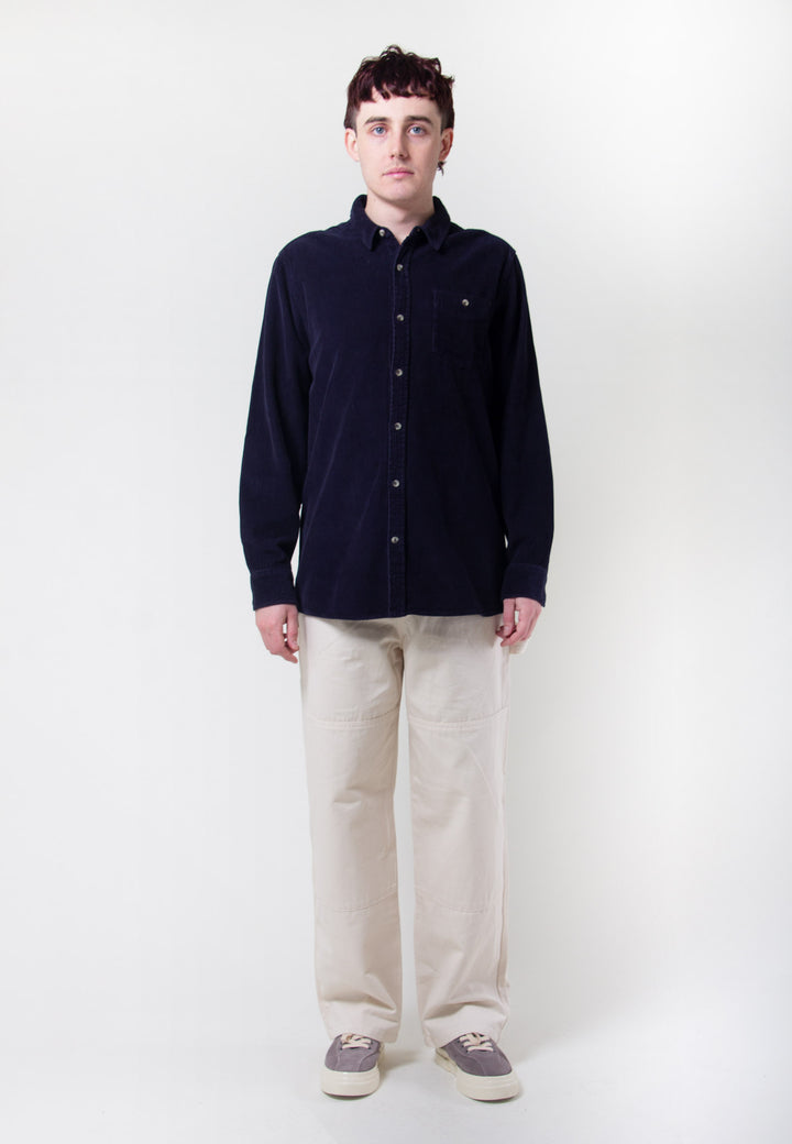 Men At Work Shirt Fat Cord - navy